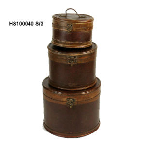 Antique Wooden Hat Box (Teasure Chest) HS100040 S/3