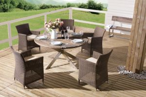 Outdoor Wicker Patio Furniture Auckland / Cancun Dining Set Garden Rattan Chairs Table (J375R) pictures & photos