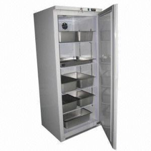 Upright Service Cabinet with White and Stainless Steel Finish