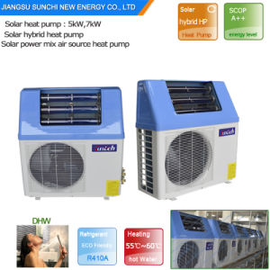 Top Rated 4 Hot Sell Home Dhw Using Tankless 220V Very High Cop5.32, 5kw, 7kw, 9kw Save 80% Power Solar Hybrid Heat Pump Heater pictures & photos