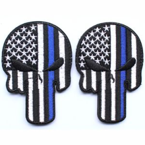 Punisher Skull American USA Thin Blue Line Law Enforcement Flag Devgru Seal Team Si Vis Pacem PARA Bellum Embroidered Patch pictures & photos