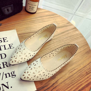 Spring Autumn Leather Shoes Bowknot Female Flats Work Soft Single Casual Shoes Woman Comfort Loafers pictures & photos