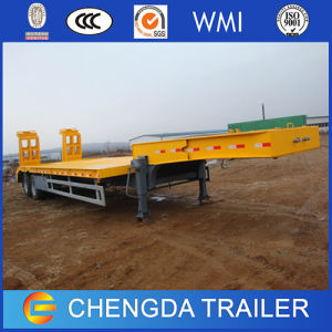 New 60 Tons 3 Axles Hydraulic Ladder Lowboy Trailer for Sale pictures & photos