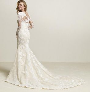 Long Sleeves Lace Bridal Gowns Front Split Sexy Wedding Dress 2018 Lb1859 pictures & photos