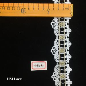 5cm Beautiful and Cheap Eyelet Gold Embroidery Lace Trim Ribbon Hme825 pictures & photos