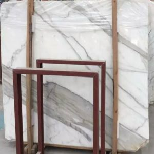 Polished Natural Snow Flower White Marble Slabs