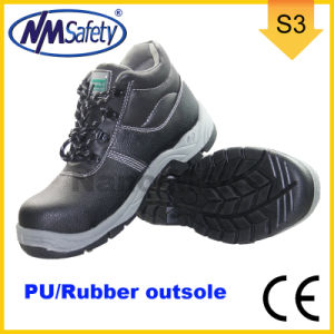Nmsafety PU & Rubber Outsole Cow Split Leather Work Safety Shoes pictures & photos