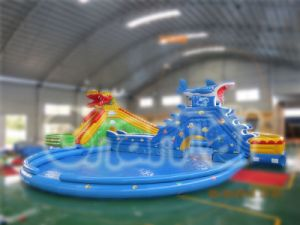 Shark Theme Inflatable Swimming Pool with Slide (CHW315) pictures & photos