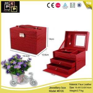Red Custom Leather and Velvet Jewelry Box (8105) pictures & photos