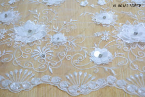 White Rayon Floral Lace Wedding Factory Vl-80182-3dbcp pictures & photos