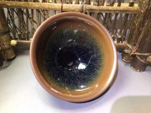 Contemporary Sake Cup with Blue Tenmoku Glaze for Collection