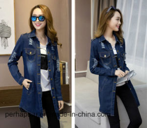 Women Fashion Shirt Loose Casual Denim Ripped Jacket pictures & photos