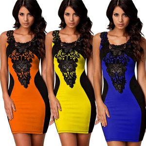 2015 Women Knee-Length Contrast Color Splice Lace Bodycon Pencil Dress pictures & photos