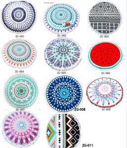 Polyester Microfiber Custom Full Size Mandala Print Round Beach Towel pictures & photos