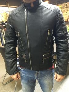Full Zipper Men Motorcycle Sport PU Leather Outdoor Wear (SAT003) pictures & photos