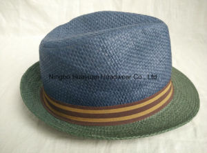 100% Paper Stripe Band Fedora Straw Hat pictures & photos