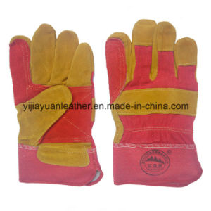 Cow Split Leather Docker Working Gloves with Reinforcement Palm pictures & photos