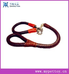 Fashion Spiral Braided Leather with Chain Pet Leash pictures & photos