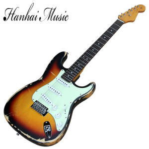 Hanhai Music / Retro Tobacco Sunburst Electric Guitar with Green Pickguard pictures & photos