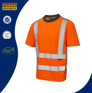 Hi Vis Reflective Safety Work T-Shirt with Crew Neck