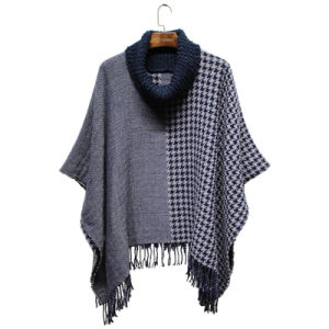 Lady Fashion High Neck Jacquard Acrylic Fringe Winter Poncho (YKY4493) pictures & photos
