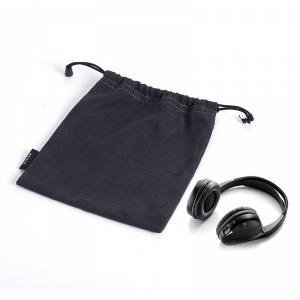 Black Sedue Drawstring Bag for Earphone pictures & photos