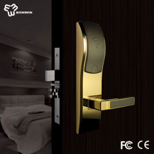 Hot Sale Bright Gold Electronic Mortise Cylinder Hotel Door Lock pictures & photos