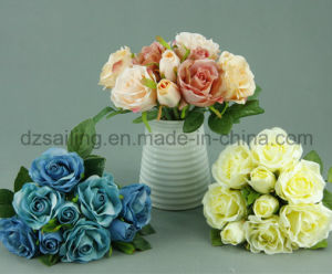 Decorative Artificial Medium Rose Bouquet Flower (SF12503)