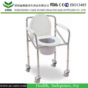 Rehabilitation Therapy Supplies Folding Commode Chair with Wheels pictures & photos
