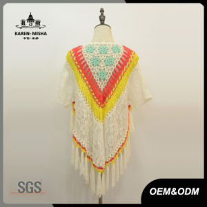 Women Floral Fashion Fringe Lace Poncho Sweater pictures & photos