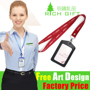 Custom Printing Satin Nylon Lanyard with Plastic Card Holder pictures & photos