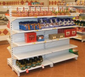 Top Quality Perforated Back Metal Steel Supermarket Shelf Display Rack pictures & photos