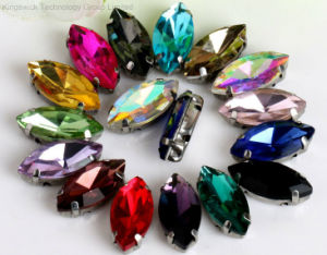Wholesale Glass Rhinestone in Setting, 13* 27mm Navette Stone pictures & photos
