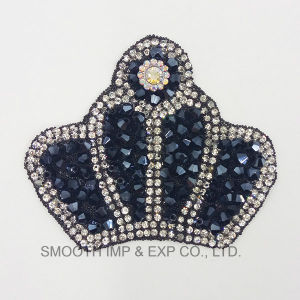 Fashion Crown Shape Embroidery Rhinestone Iron on Patch Bead Accessories pictures & photos