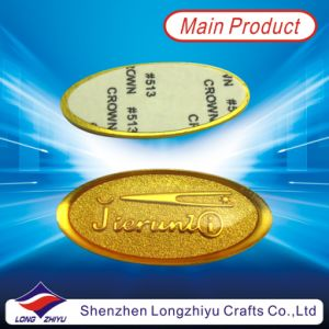 Fashion New Custom Embossed Logo Gold Sticker Metallized Sticker Nameplate pictures & photos