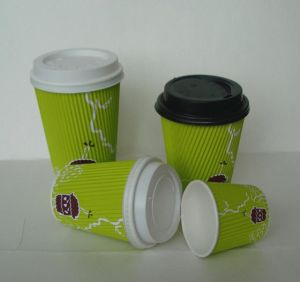 Custom Printed Ripple Wall Paper Coffee Cups with Lid pictures & photos