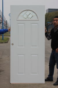 Fan Lite Prehung Steel Entry Door with Tempered Safety Glass pictures & photos