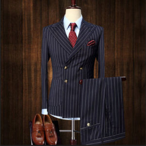 Double Breasted Stripe Tailored Seersucker Suit for Men