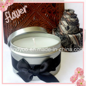 Soy Scented Tin Candle with Black Bowknot pictures & photos