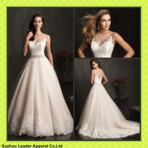 Champagne Tulle Ball Gowns Princess Sheer Neckline Lace Wedding Dresses Y1008 pictures & photos