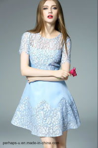 New Collection Ladies Chiffon A-Line Dress with Lace Cover pictures & photos