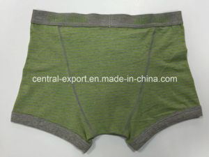 New Style Melange Green Men′s Boxer Short Underwear with Yarn-Dyed Stripe and Opeing pictures & photos