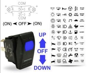 LED 12V Boat Momentary Tab Anchor Winch Windows on off on Rocker Switch pictures & photos