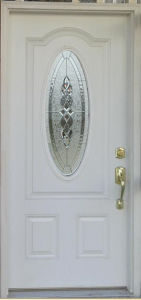 Double Decorative Tempered Glass Inserted Classic Hand Craft Fiberglass Door pictures & photos