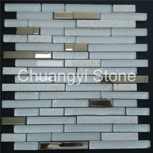 Marble Stone Mix Glass and Metal Material Mosaic Tile for Home Decoration pictures & photos