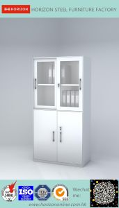 Steel High Storage Metal Furniture with Upper and Lower Framed Sliding Glass Doors/File Cabinet pictures & photos