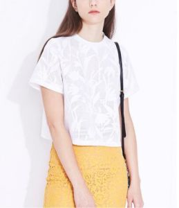 Summer Elegant Pure Jacquard Plant Short Round Neck Ladies T-Shirt pictures & photos
