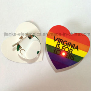 2017 Promotion Gifts Heart Shape LED Flashing Basges with Logo Printing (3161) pictures & photos