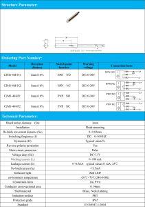 1mm Detection Distance NPN No Flush Type M4 Inductive Proximity Switch Sensor pictures & photos