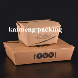 Take Away Paper Lunch Box Disposable Kraft Paper Box for Food Package Design (paper lunch box) pictures & photos